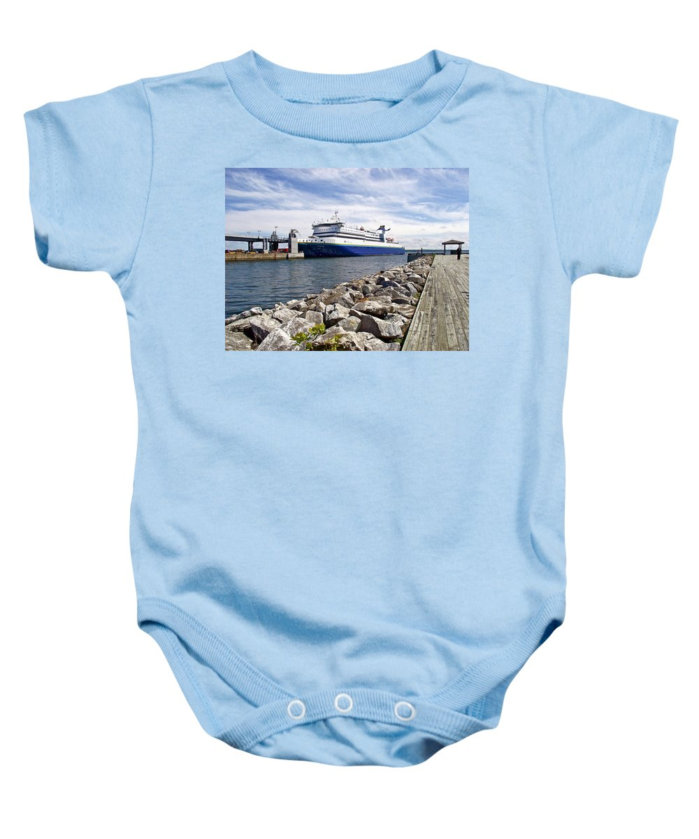 Ferry From North Sydney-ns To Argentia Baby Onesie featuring the photograph Ferry From North Sydney-ns To Argentia-nl by Ruth Hager