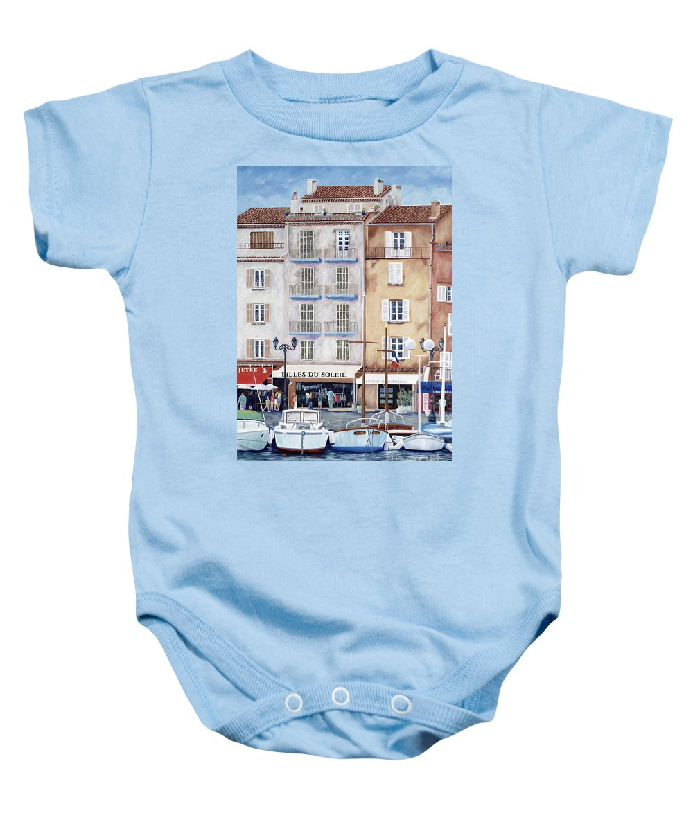 St. Tropez Baby Onesie featuring the painting Filles Du Soleil by Danielle Perry