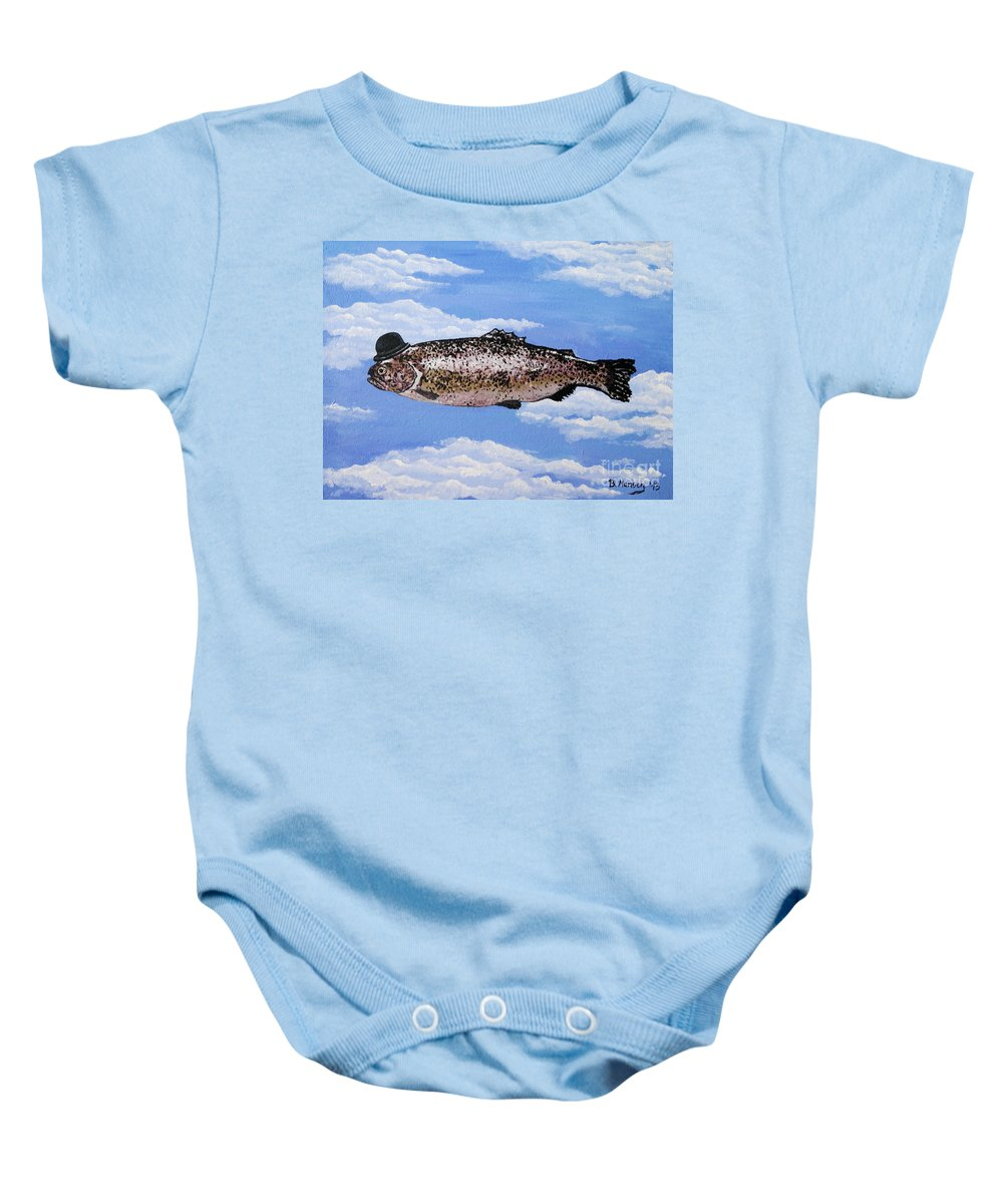 Fish Baby Onesie featuring the painting Fish With Bowler by Bela Manson