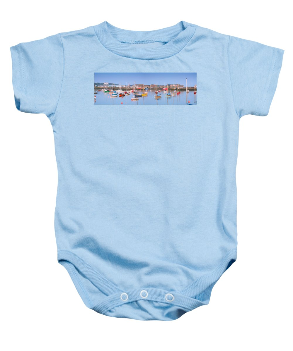 Anchorage Baby Onesie featuring the photograph Fishing Boats In The Howth Marina by Semmick Photo