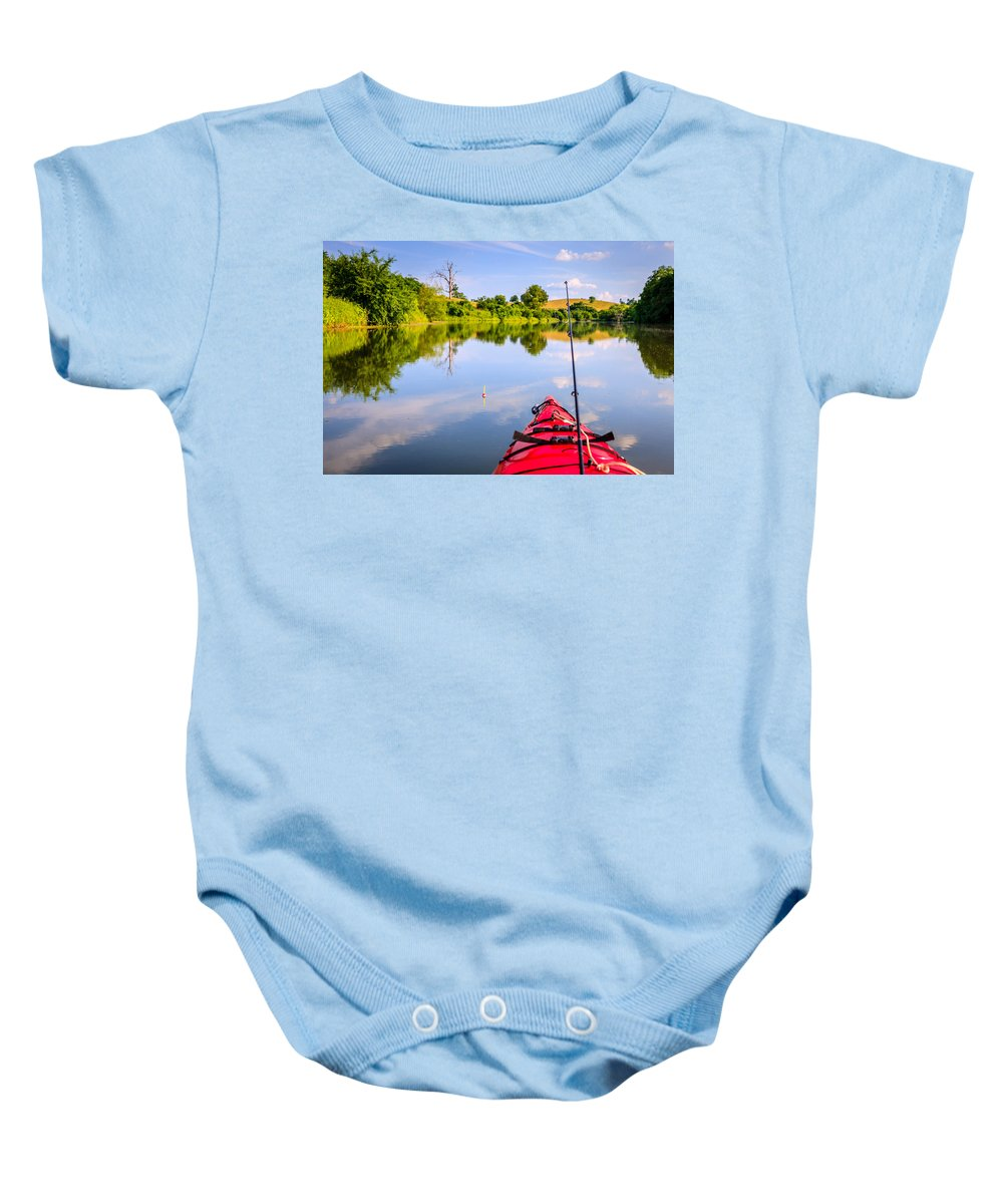 Lake Baby Onesie featuring the photograph Fishing On The Lake by Alexey Stiop