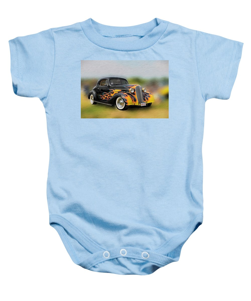 Antique Car Baby Onesie featuring the photograph Flames On Wheels by Liz Mackney