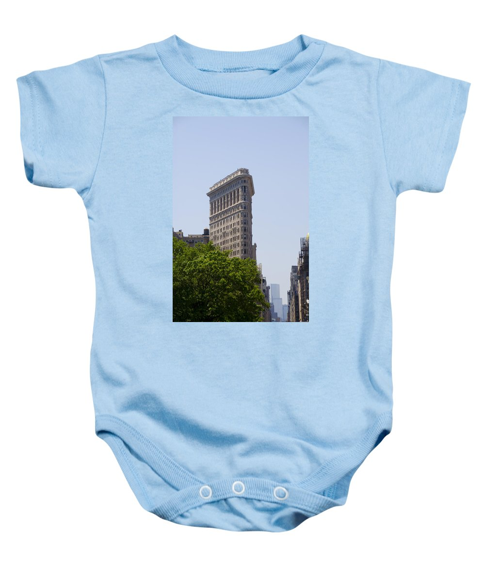 Flat Baby Onesie featuring the photograph Flat Iron Building by Bill Cannon