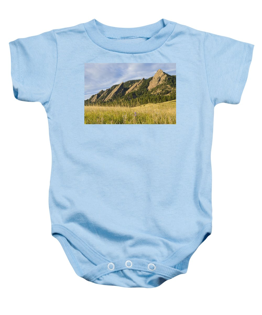 Boulder Photos Baby Onesie featuring the photograph Flatirons With A Purple Wildflower by James BO Insogna