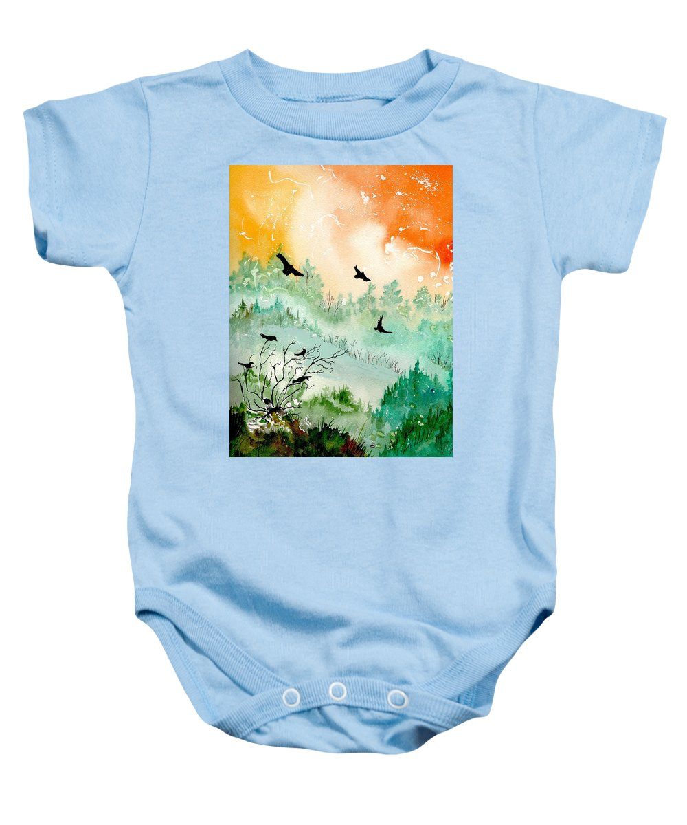 Watercolor Baby Onesie featuring the painting Flight by Brenda Owen