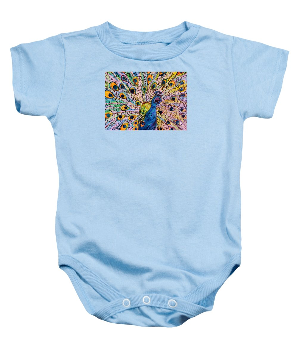 Peacock Baby Onesie featuring the painting Flirty Peacock by Eloise Schneider Mote