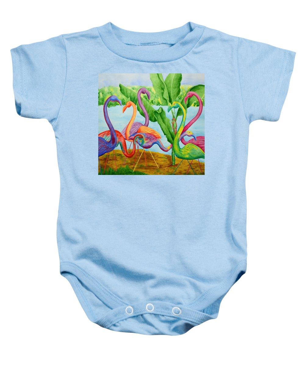 Flamingo Baby Onesie featuring the painting Floosie Flamingos by Rhonda Leonard