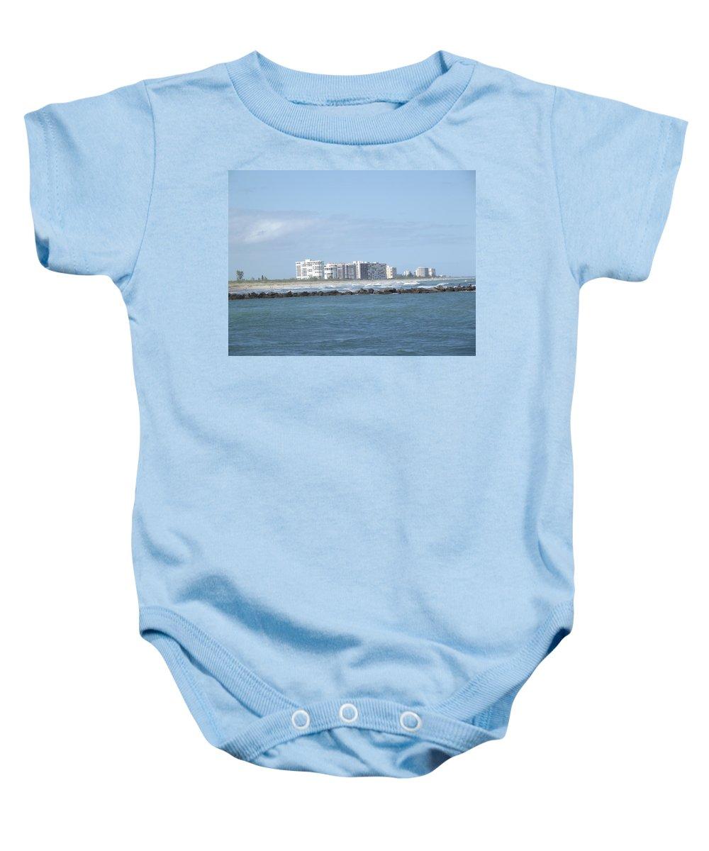 Skyline Baby Onesie featuring the photograph Florida Skyline by Jennifer Lavigne