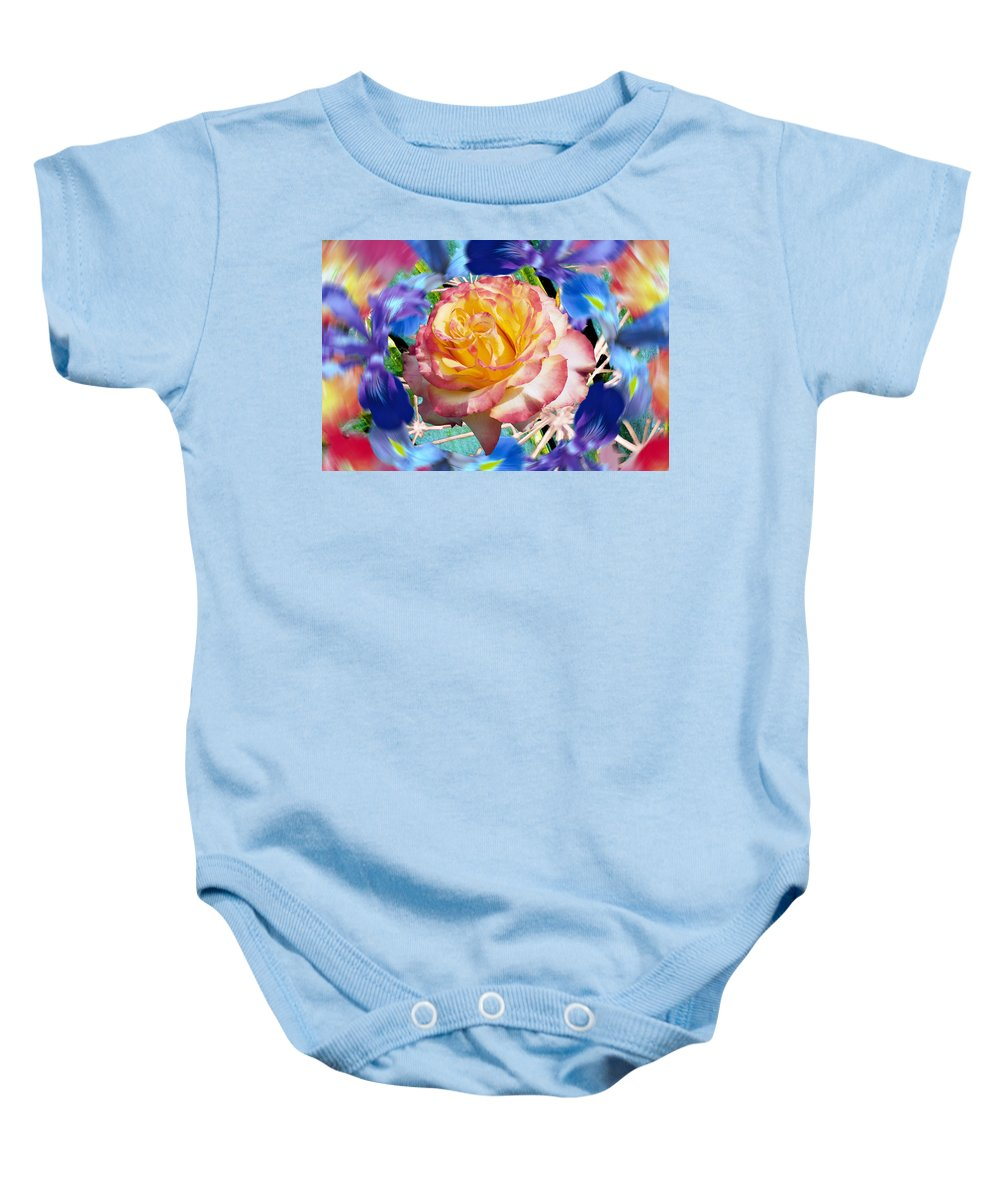 Flowers Baby Onesie featuring the digital art Flower Dance 2 by Lisa Yount