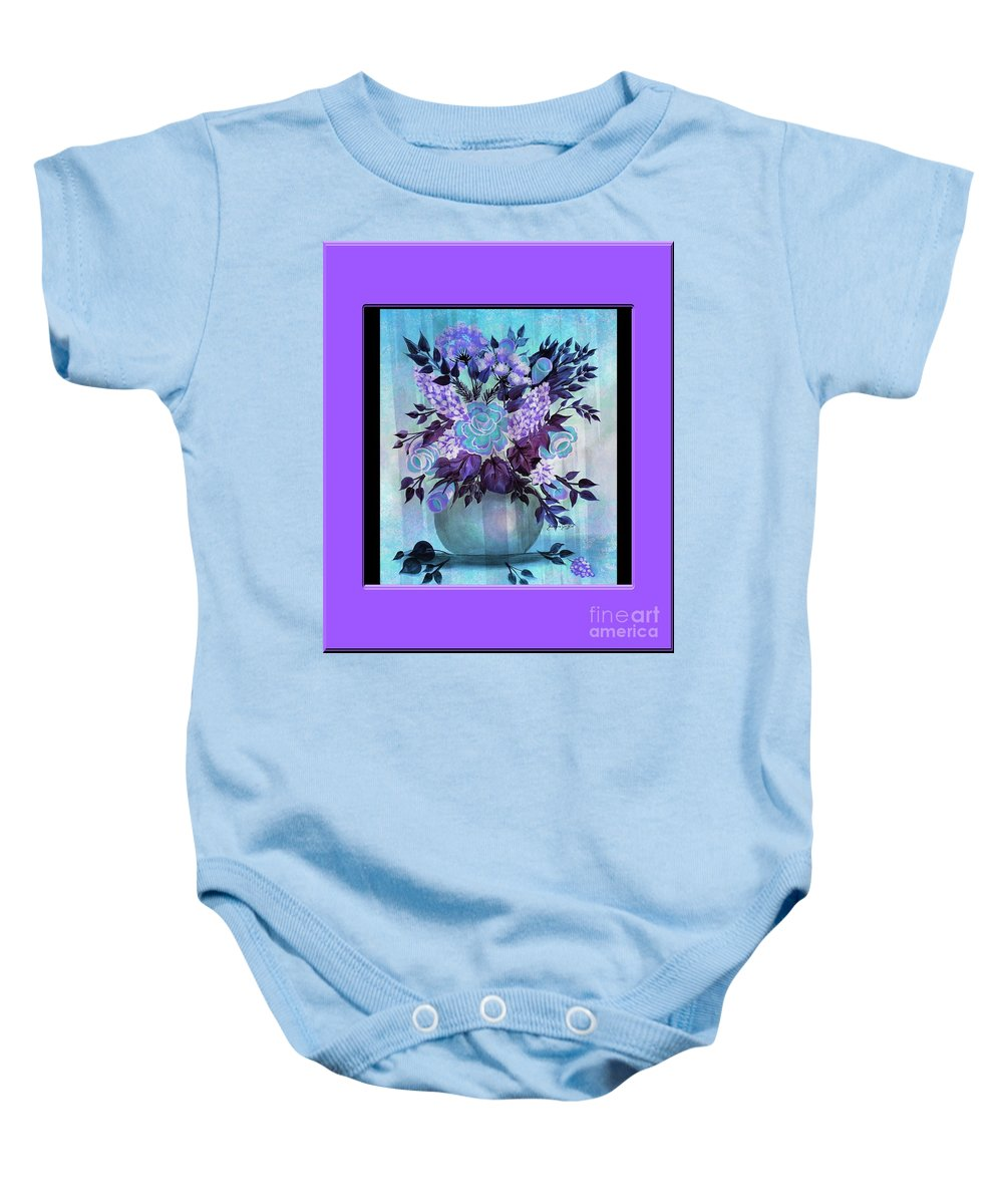 Flowers In A Vase With Lilac Border Baby Onesie featuring the painting Flowers In A Vase With Lilac Border by Barbara Griffin