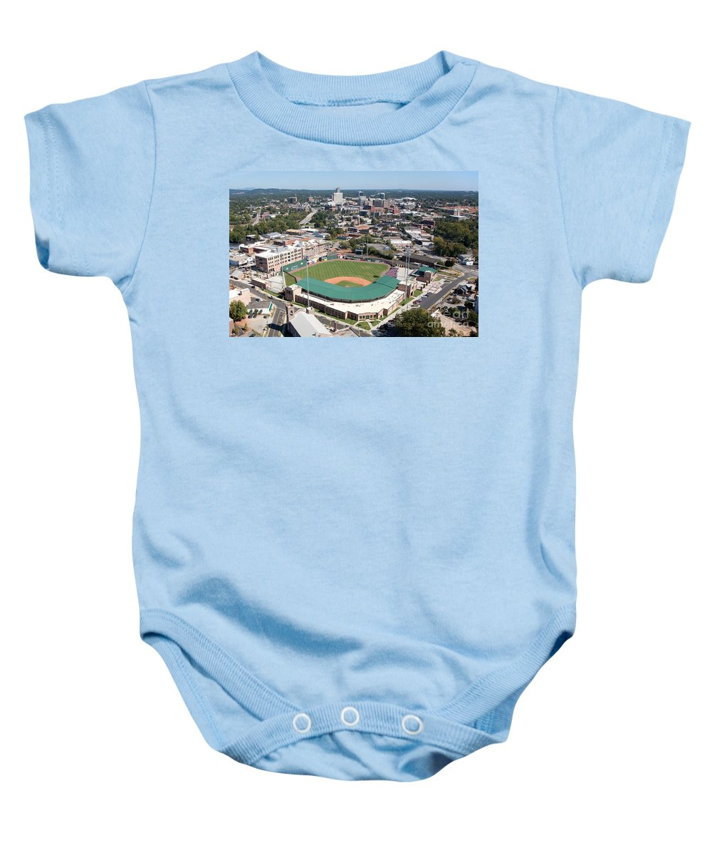 Aerial Baby Onesie featuring the photograph Fluor Field At The West End Greenville by Bill Cobb