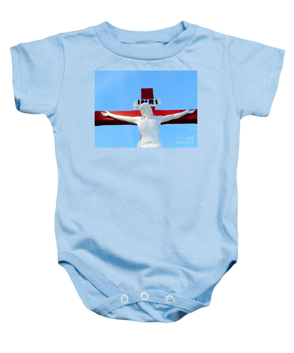 Jesus Christ Baby Onesie featuring the photograph For They Know Not What They Do by Ed Weidman