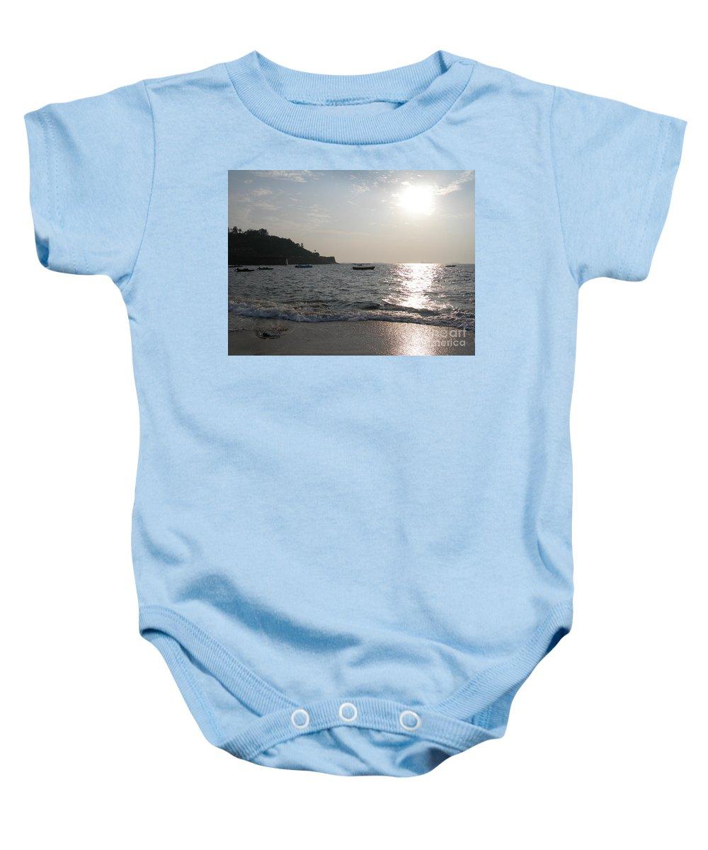 Goa Baby Onesie featuring the photograph Fort Aguada Beach by Mini Arora