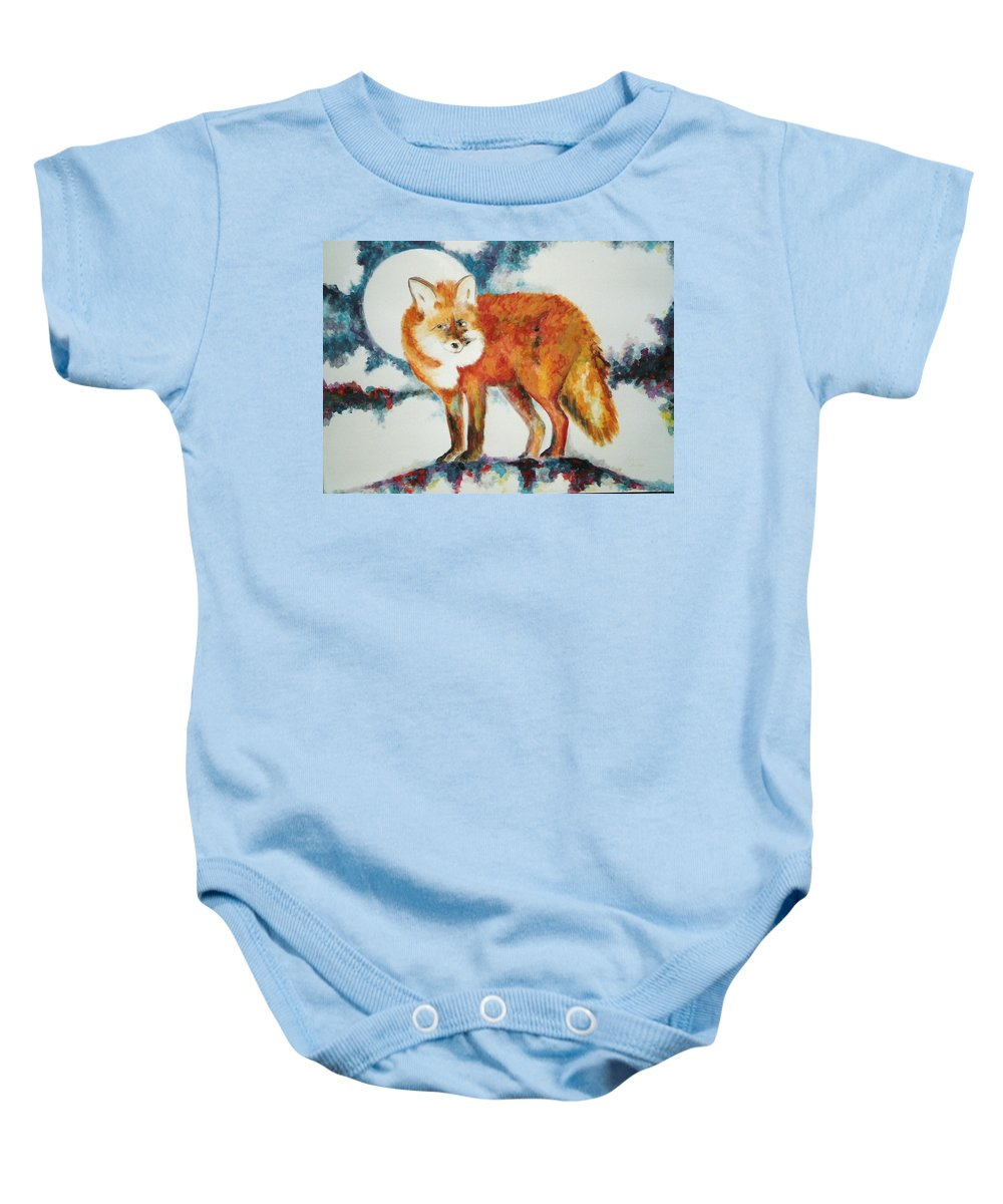 Fox Baby Onesie featuring the painting Fox In The Moon by Lord Frederick Lyle Morris