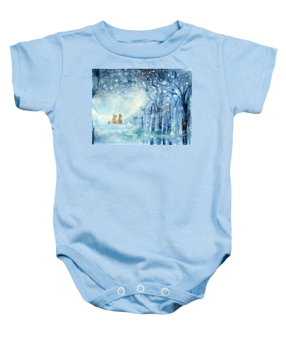 Fox Baby Onesie featuring the painting Foxes In The Snow by Ashleigh Dyan Bayer