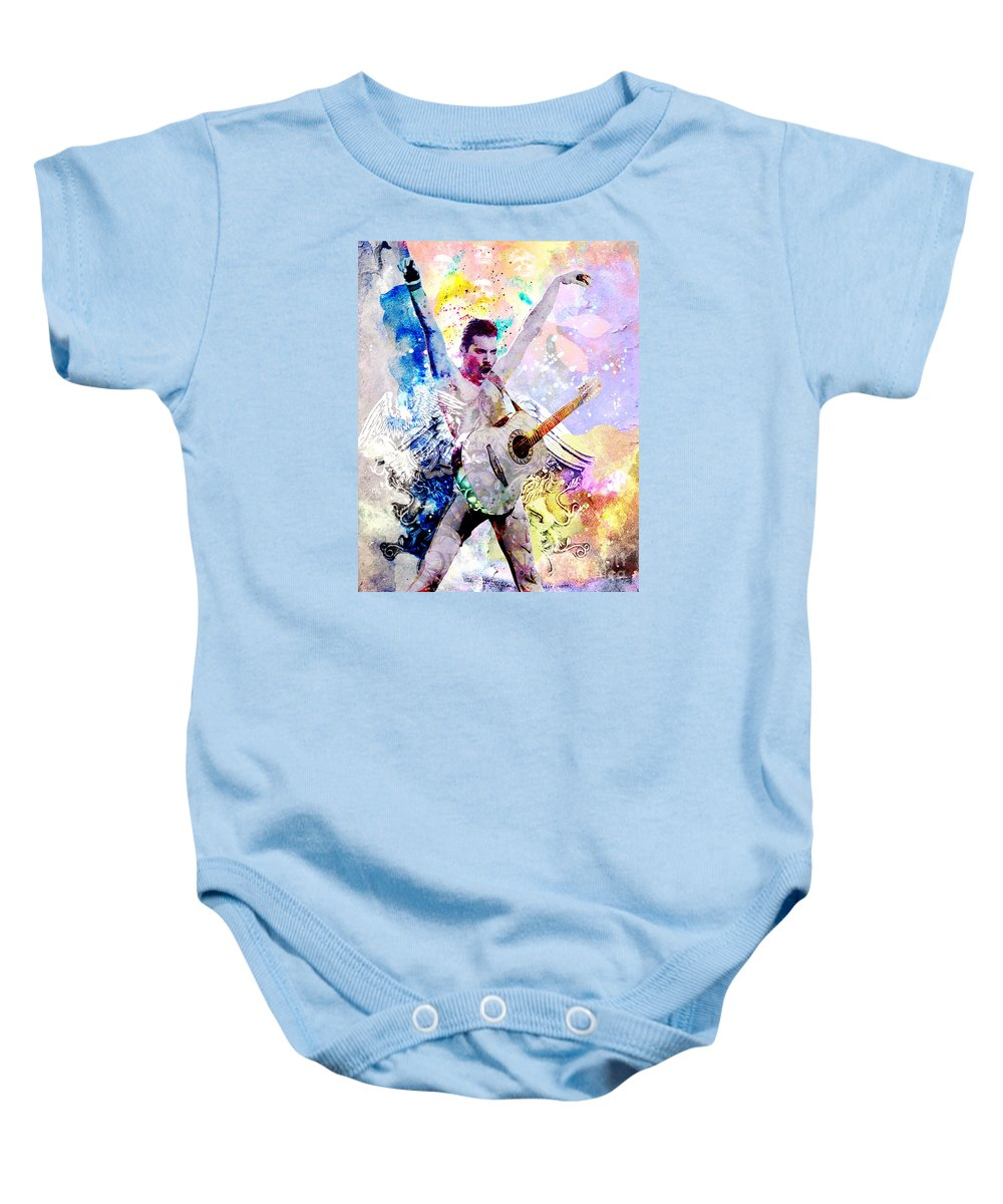 Rock N Roll Baby Onesie featuring the painting Freddie Mercury - Queen Original Painting Print by Ryan Rock Artist