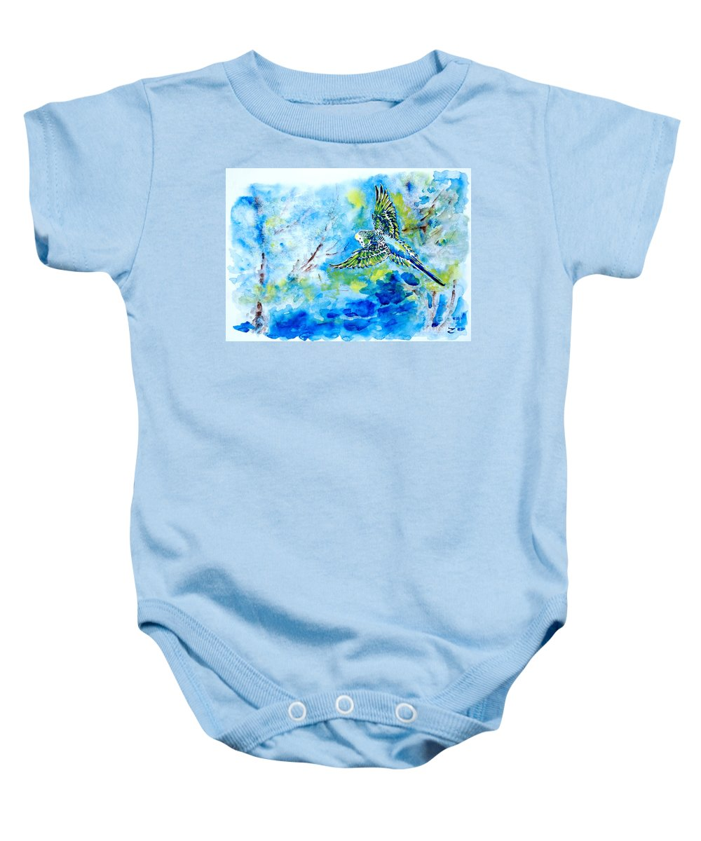 Budgerigar Baby Onesie featuring the painting Free by Zaira Dzhaubaeva