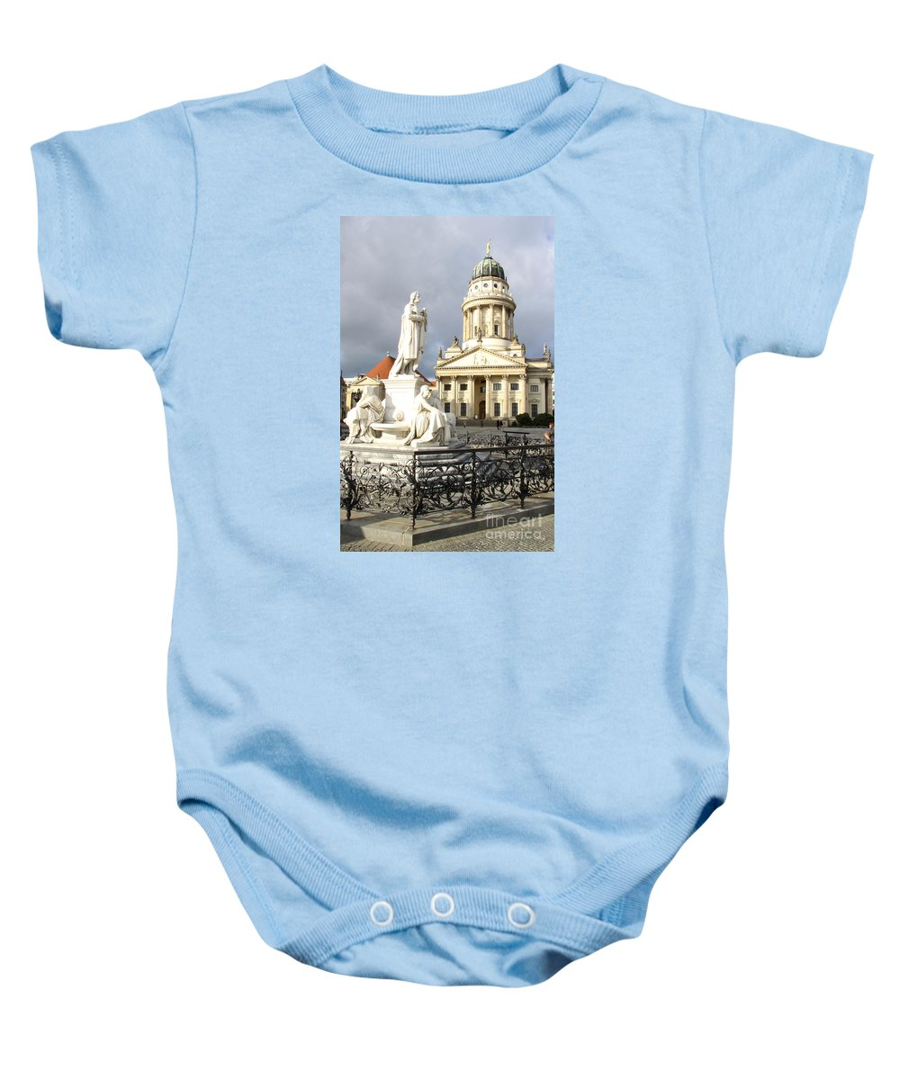 Cathedral Baby Onesie featuring the photograph French Cathedral And Statue Gendarmenmarkt Germany by Christiane Schulze Art And Photography