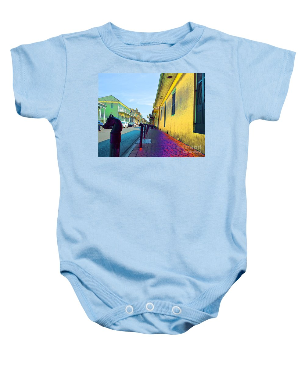 French Quarter Baby Onesie featuring the digital art French Quarter Street by Alys Caviness-Gober
