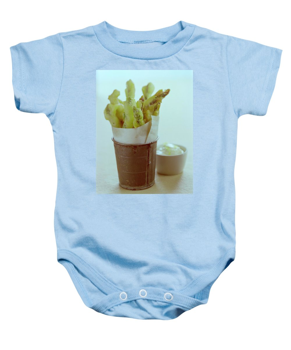 Food Baby Onesie featuring the photograph Fried Asparagus by Romulo Yanes
