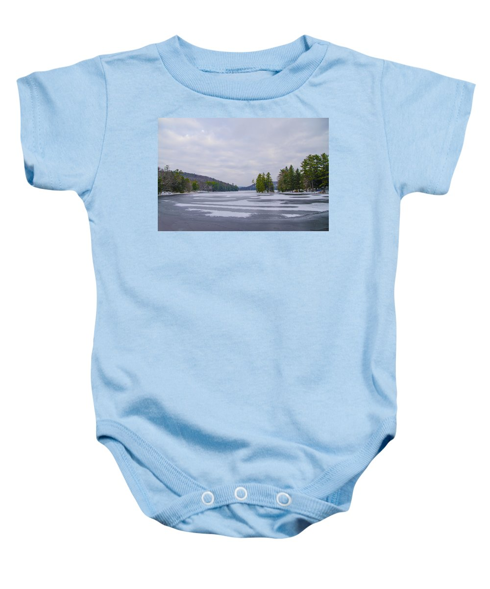 Frozen Baby Onesie featuring the photograph Frozen Bear Creek Lake by Bill Cannon