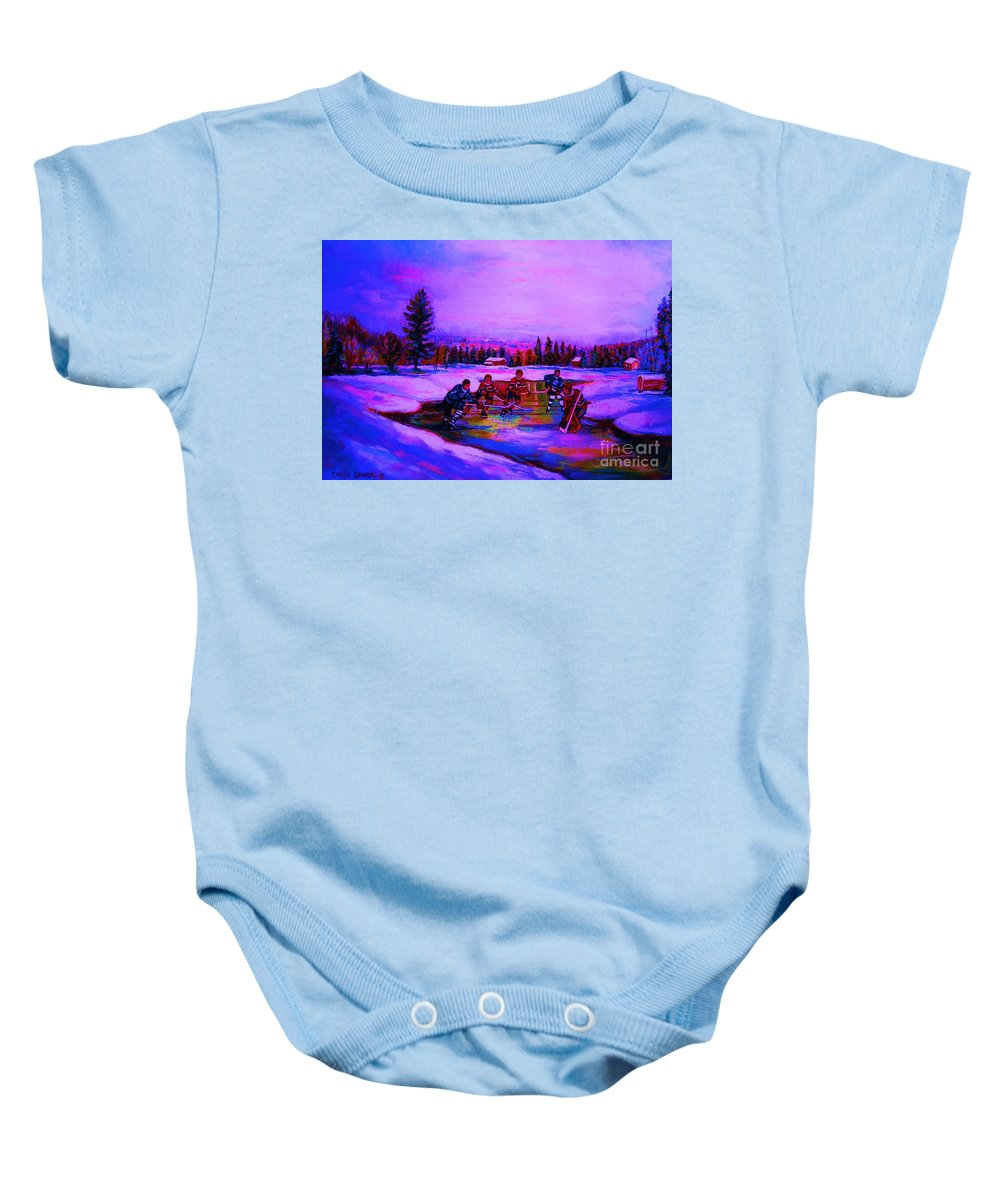 Hockey Baby Onesie featuring the painting Frozen Pond by Carole Spandau