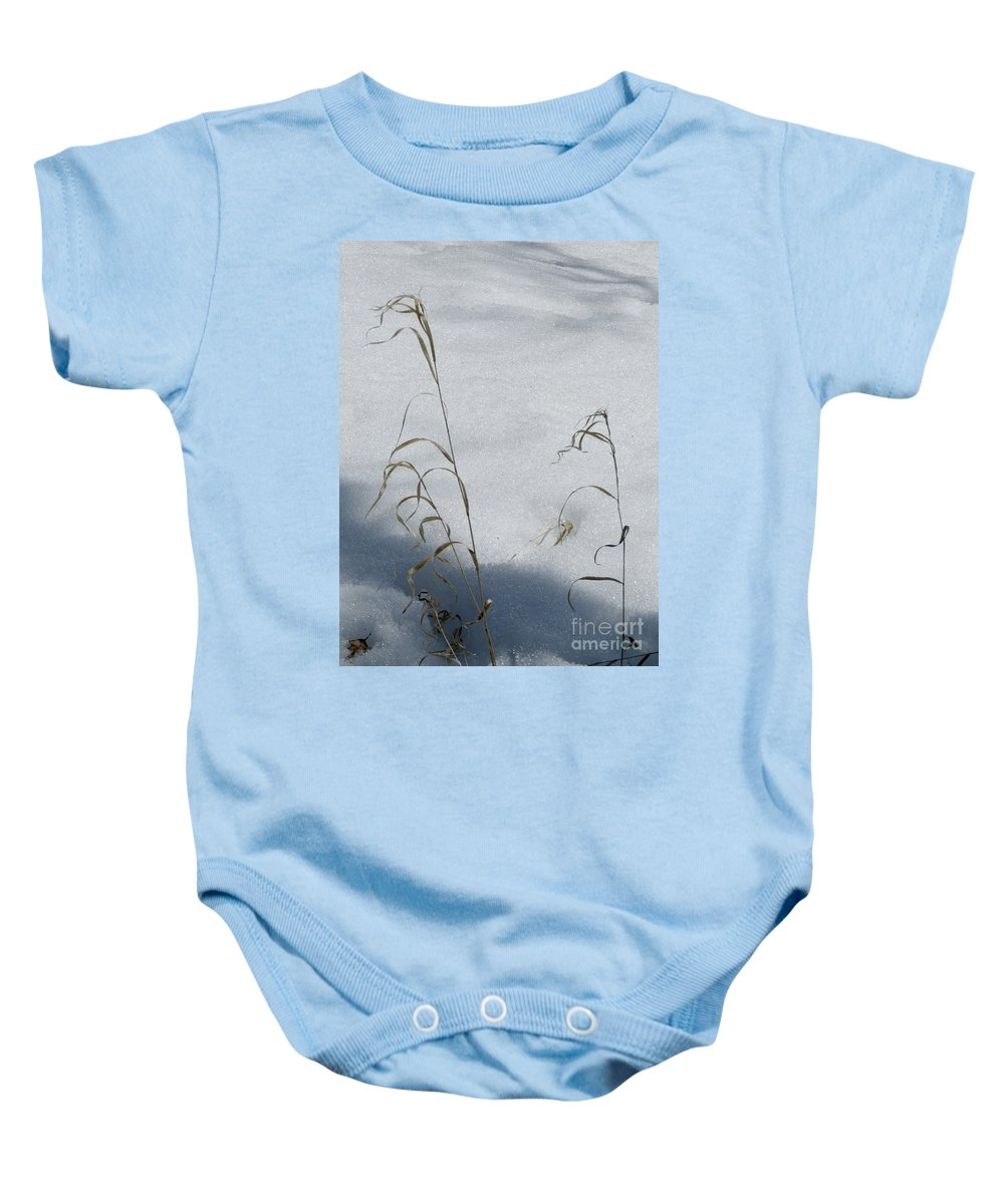 Scene Baby Onesie featuring the photograph Frozen Wheat by Mary Mikawoz