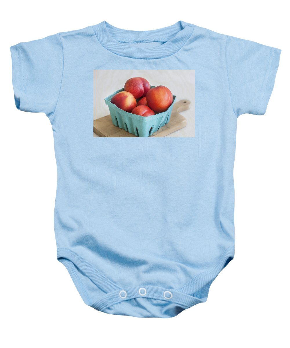 Nectarines Baby Onesie featuring the photograph Fruit Stand Nectarines by Rich Franco
