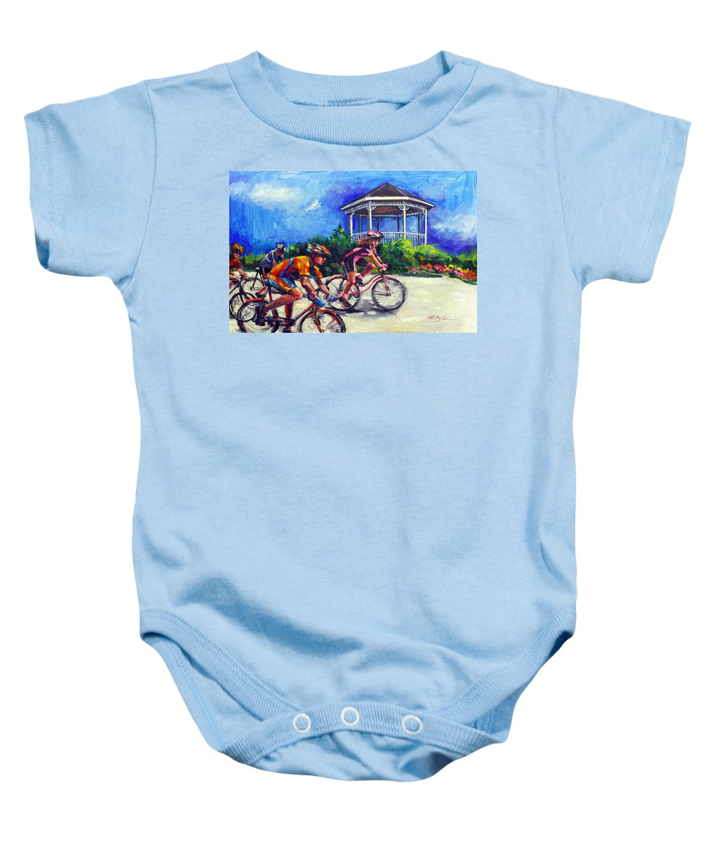Bicycling Baby Onesie featuring the painting Fun Time In Bicycling by Mitzi Lai