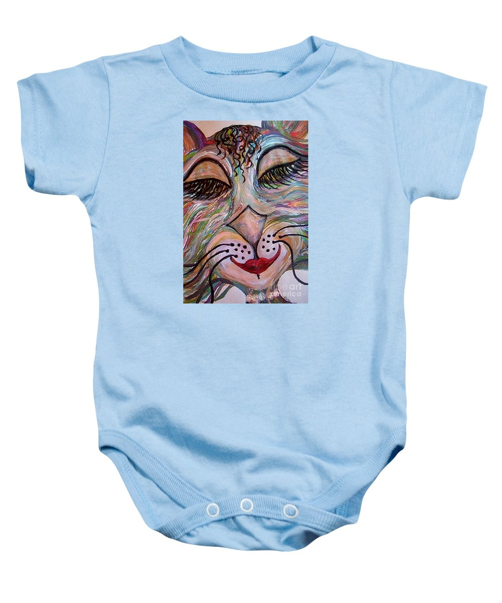 Cat Baby Onesie featuring the painting Funky Feline by Eloise Schneider Mote