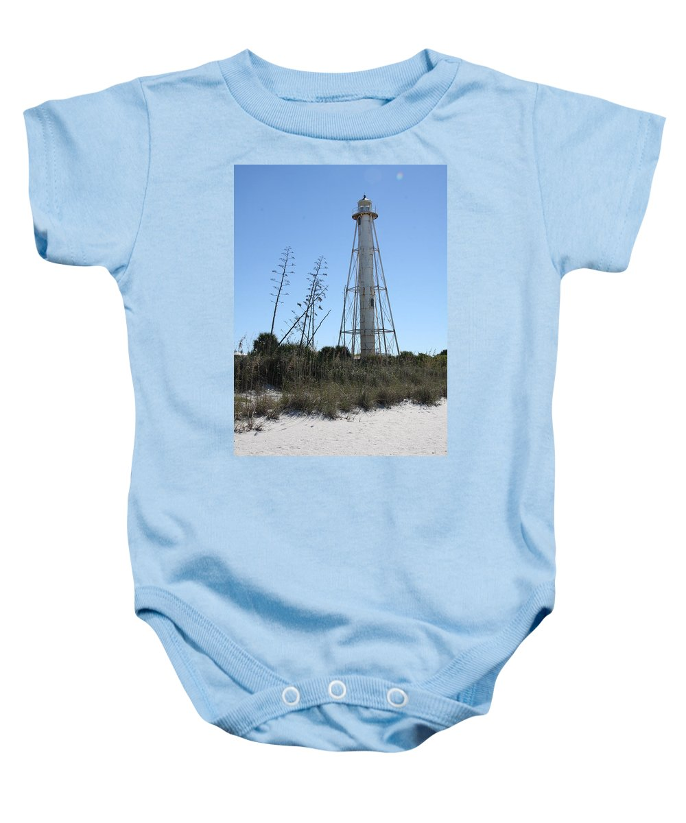 Steel Lighthouse Baby Onesie featuring the photograph Gasparilla Island Light II by Christiane Schulze Art And Photography