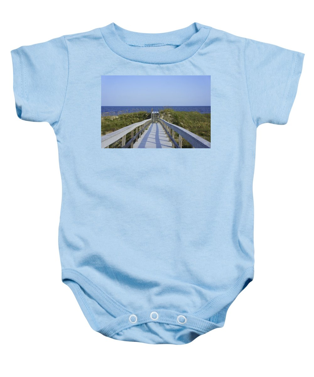 Boardwalk Baby Onesie featuring the photograph Georgia Boardwalk by Laurie Perry
