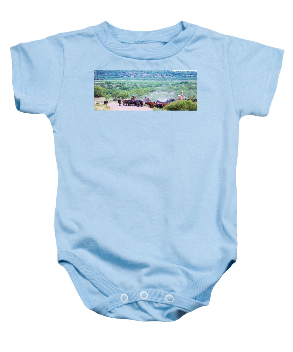 Ranch Baby Onesie featuring the photograph Get Along Lit' Dogies by Kelli Brown
