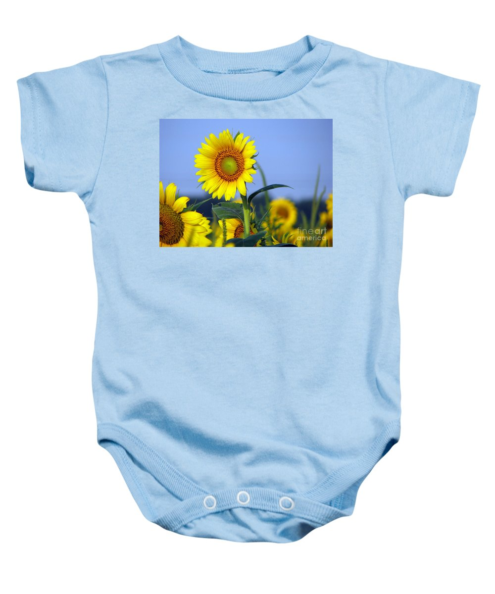 Sunflower Baby Onesie featuring the photograph Getting To The Sun by Amanda Barcon