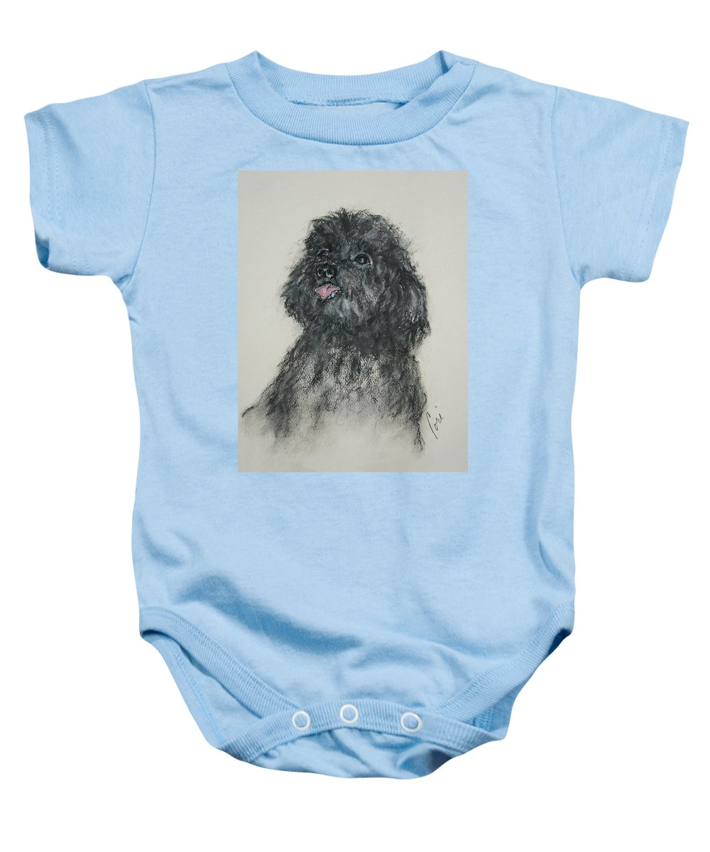 Poodle Baby Onesie featuring the drawing Gigi by Cori Solomon