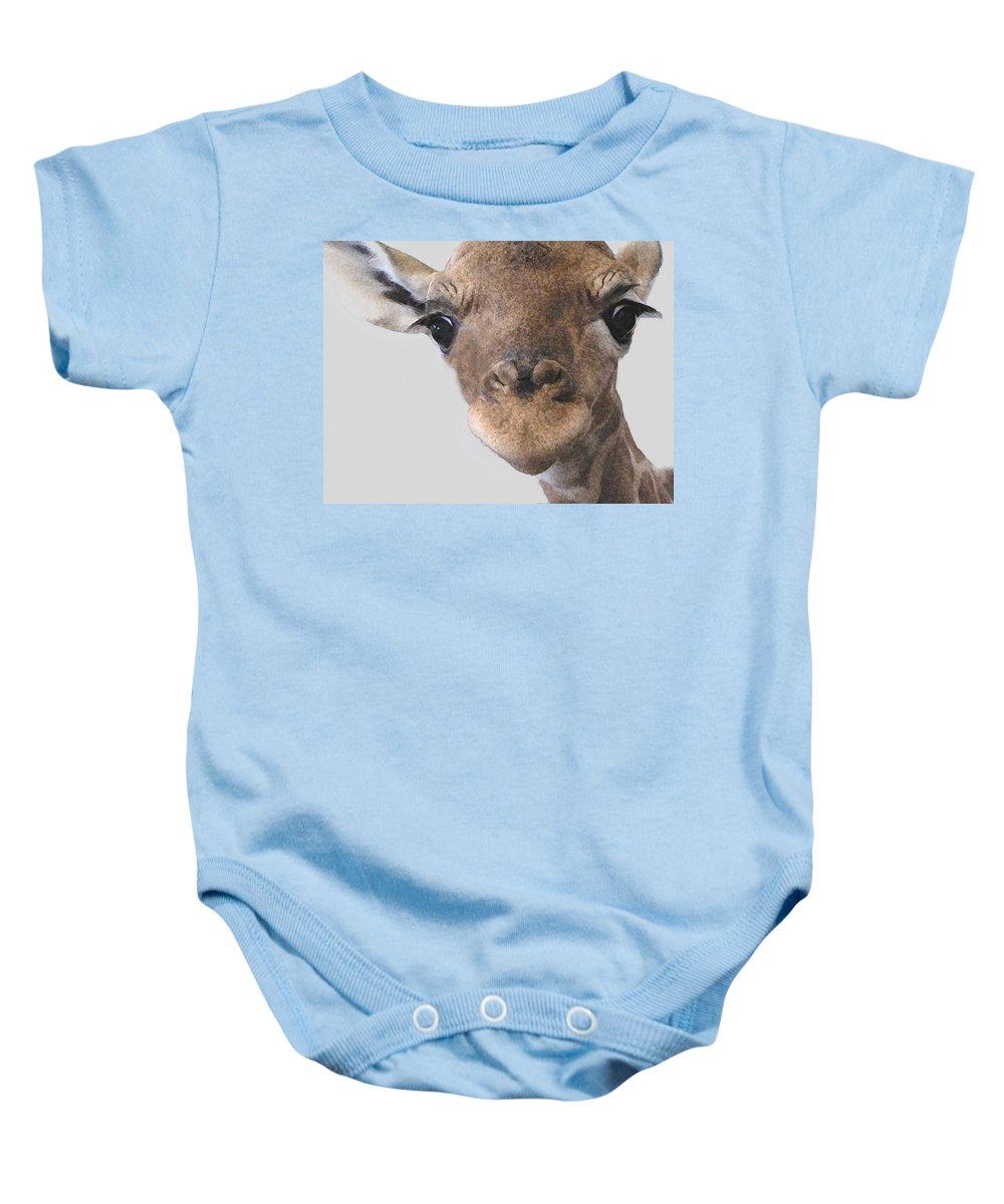 Giraffe Baby Onesie featuring the photograph Giraffe Baby by Diane Alexander