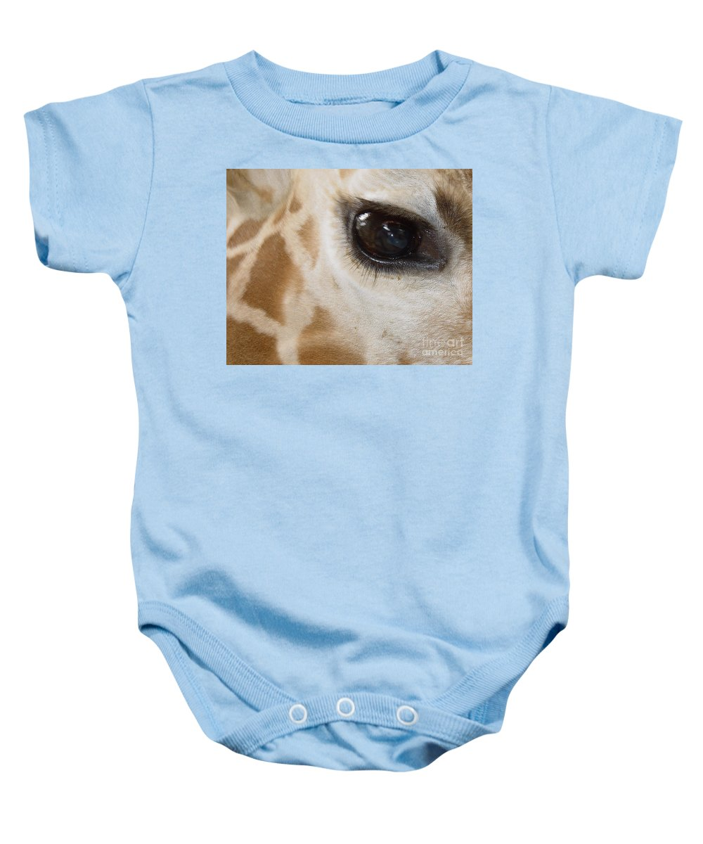 Giraffe Baby Onesie featuring the photograph Giraffe Eye by Heather Coen