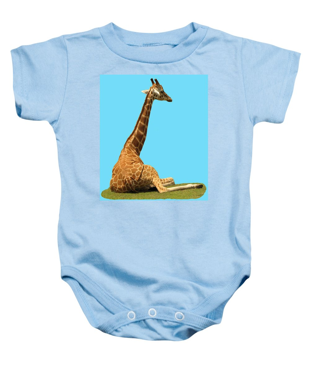 Giraffe Baby Onesie featuring the photograph Giraffe On Blue by MTBobbins Photography