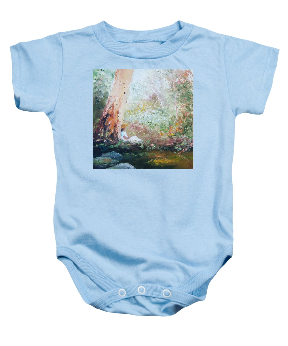 Landscape Baby Onesie featuring the painting Girl In A White Dress by Jan Matson