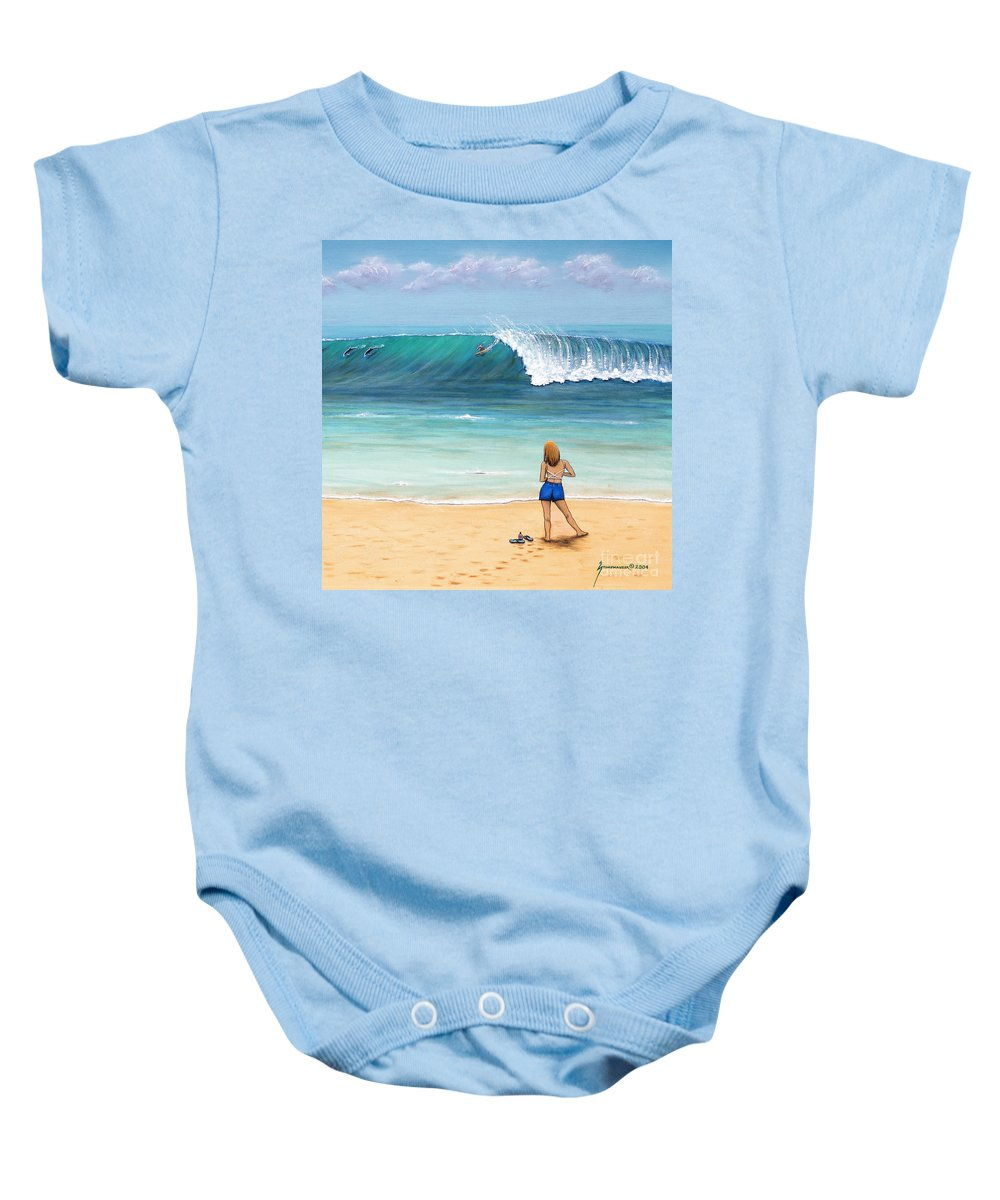 Beach Baby Onesie featuring the painting Girl On Surfer Beach by Jerome Stumphauzer
