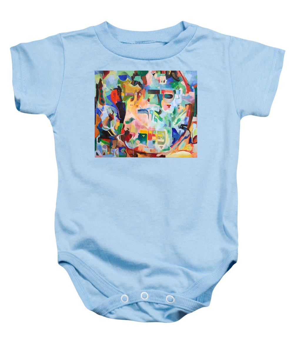 Baby Onesie featuring the painting Give Us A Sign Of The Light Of Your Countenance Upon Us by David Baruch Wolk