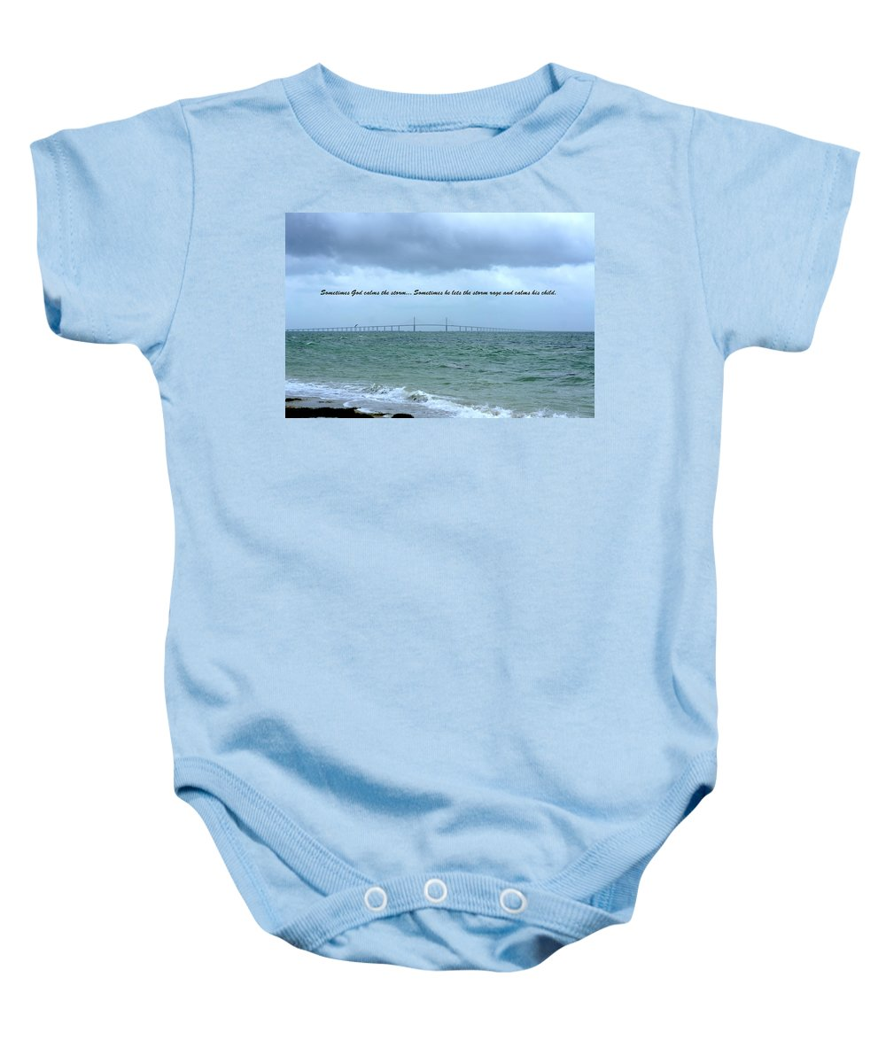Sunshine Skyway Bridge Baby Onesie featuring the photograph God Calms The Storm by Laurie Perry