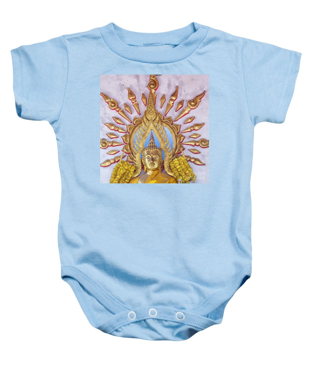 Religion Baby Onesie featuring the photograph Golden Buddha Statue by Sophie McAulay