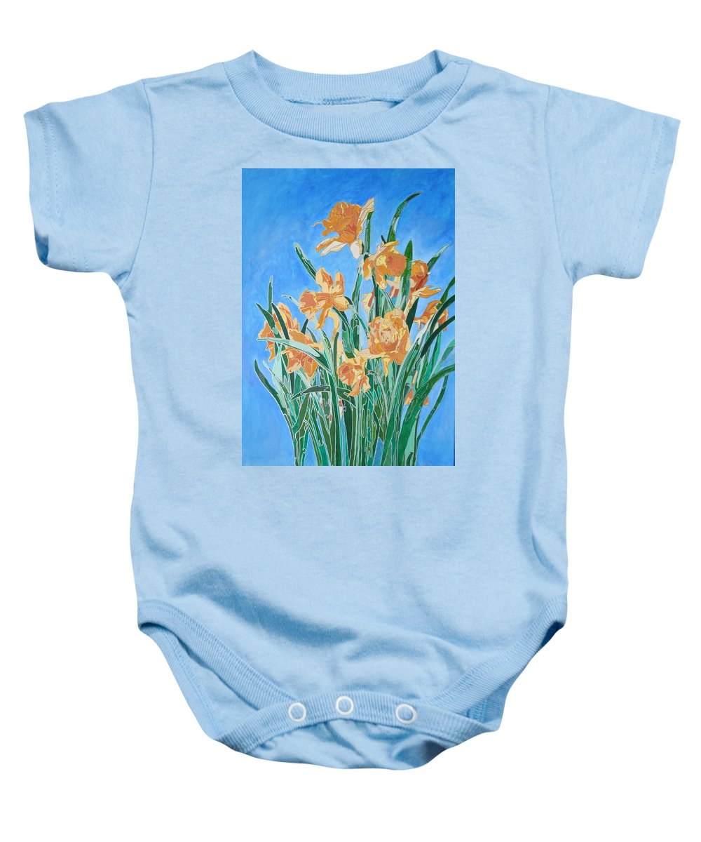 Daffodil Baby Onesie featuring the painting Golden Daffodils by Tracey Harrington-Simpson