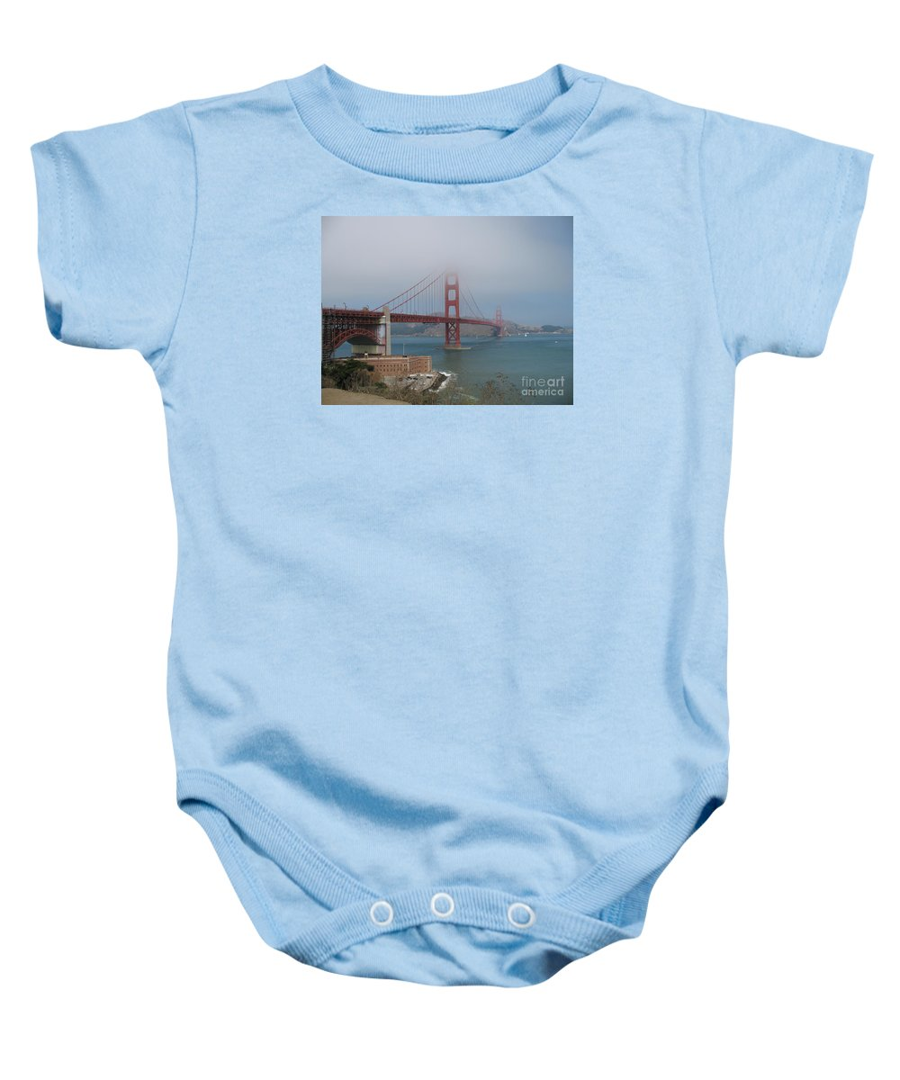 San Francisco Baby Onesie featuring the photograph Golden Gate Bridge And Fort Point by Christiane Schulze Art And Photography