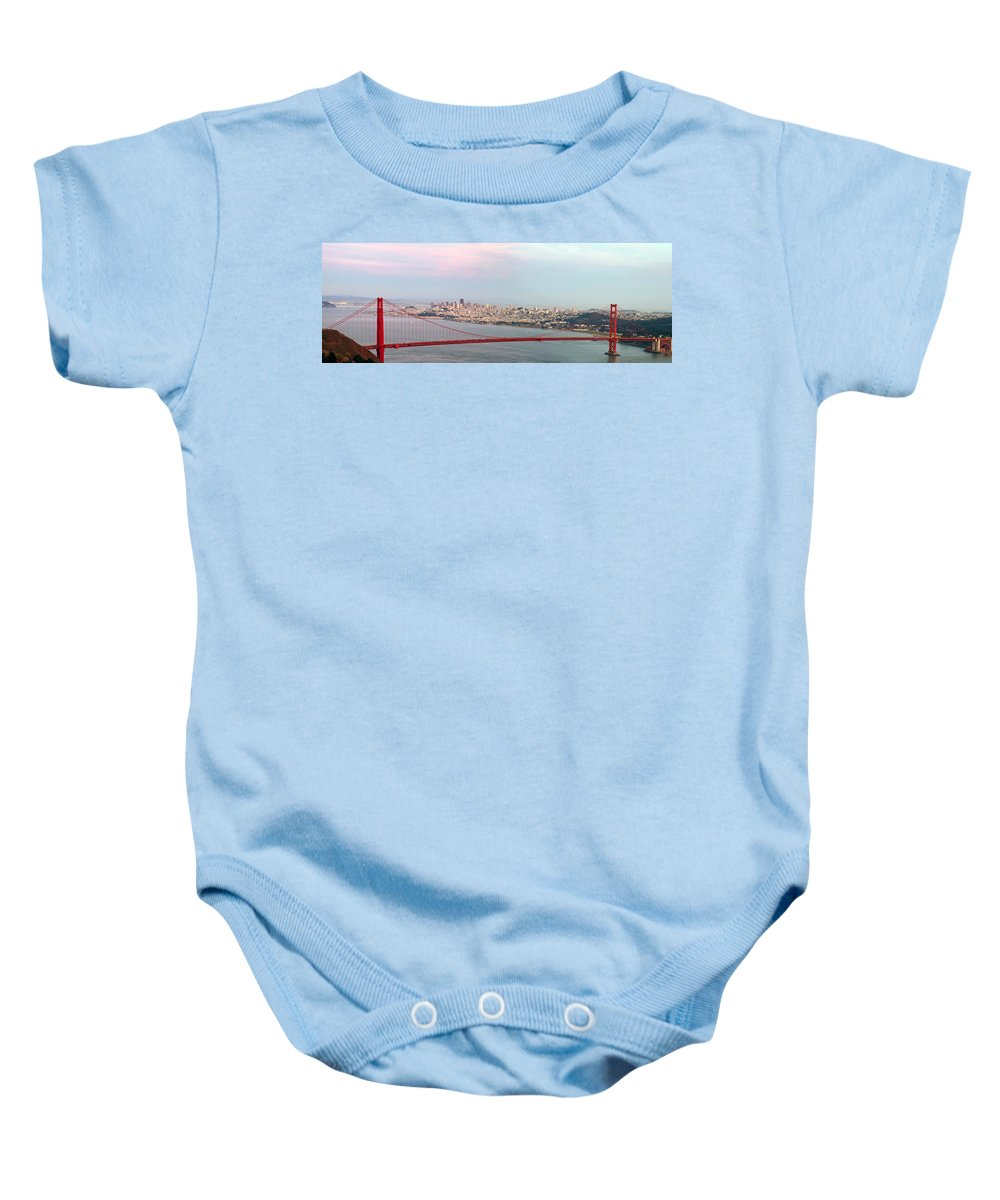 Golden Baby Onesie featuring the photograph Golden Gate Bridge And San Francisco Skyline by Jit Lim