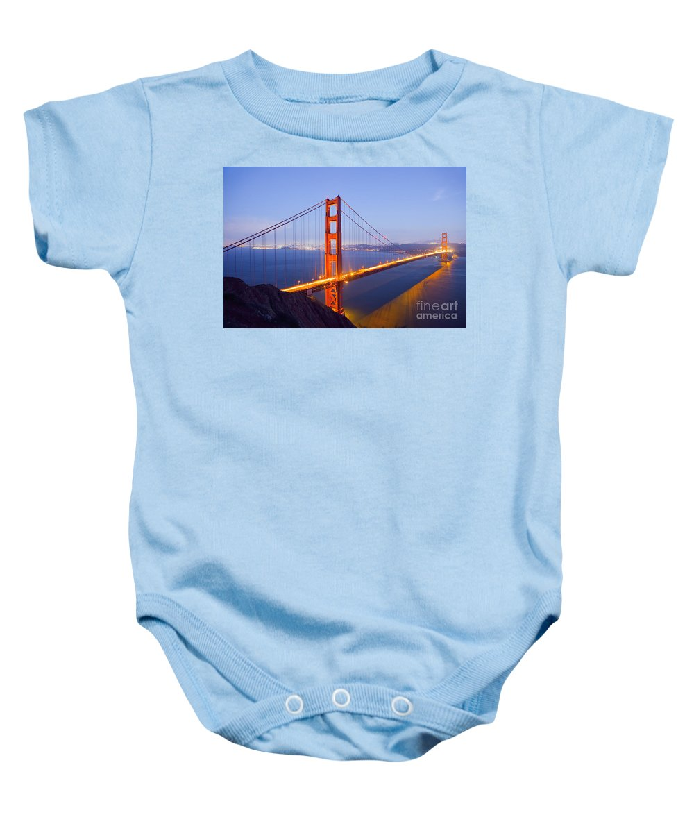 Golden Gate Bridge Baby Onesie featuring the photograph Golden Gate Bridge At Dusk by Bryan Mullennix