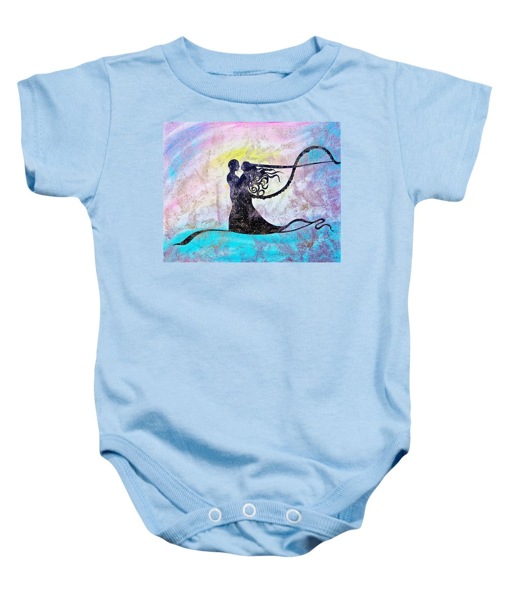 Couple Baby Onesie featuring the painting Golden Romance by Alex Art and Photo
