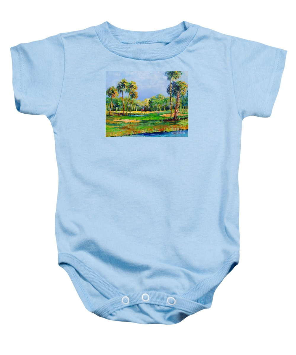 Longboat Key Baby Onesie featuring the painting Golf In The Tropics by Lou Ann Bagnall