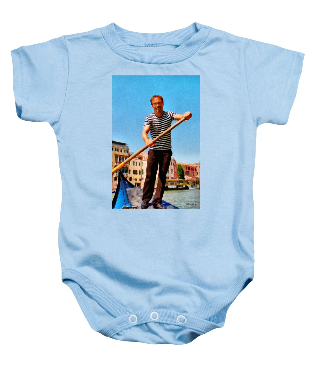 Europe Baby Onesie featuring the painting Gondolier by Jeffrey Kolker